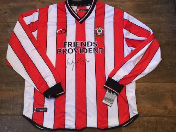 2001 2003 Southampton Wayne Bridge Signed Club COA BNWT L/s Football Shirt